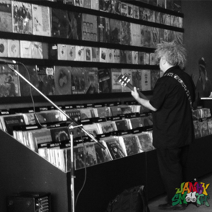 Buzz shopping for vinyl before Melvins show at Permanent Records