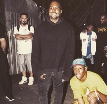 Kanye and Tyler Backstage at Coachella shot by Grady Brannan