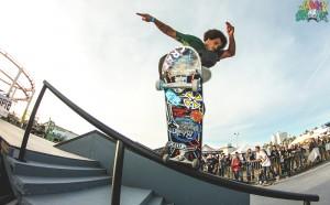 Blake Johnson hitting the handrail at Shredtopia