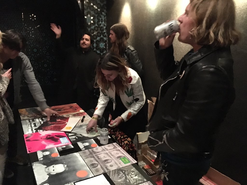 Ty Segall at Teragram Ballroom Merch Booth photo by Brent Smith