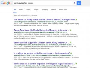 Google Screenshot Sanders/Sexism